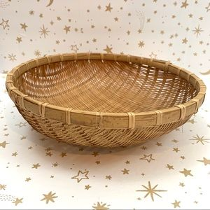 Other - Wicker Woven Shallow Display Bowl Wooden Bowl